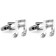 Cufflinks: Notes, Sixteenths tied with crystals