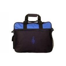 Blau/schwarze Tasche, für Computer, Studio, Arbeit. Blauer G-Schlüssel