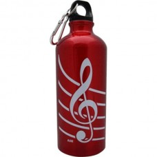 Aluminum beverage bottle with carabiner. G clef