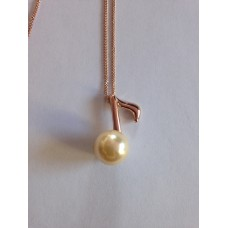 Necklace with eighth and false pearl, pink gold plated