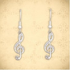 Earrings with big silver-colored G clef and crystals