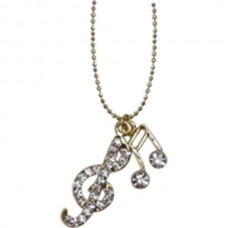 Necklace with treble clef and double note with crystals