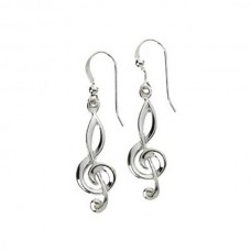 Earrings in 925 silver with G or treble clef