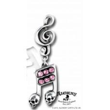 Alchemy Ohrring: Noten mit kleinen Totenköpfen und G-Schlüssel gebunden