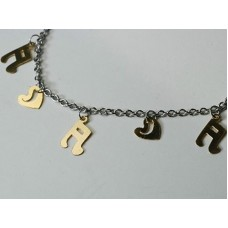 2-color steel bracelet: tied notes and small hearts