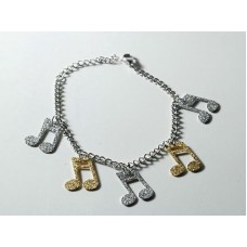 Steel bracelet. Bright satin tied notes