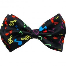 Papillon or bow tie: with colored musical notes and symbols