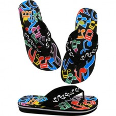 Flip flops with colorful musical notes