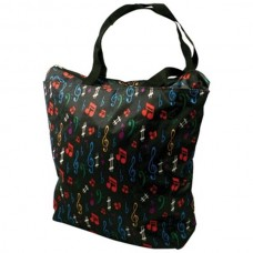 Satin bag, also for shopping, with colored musical notes