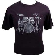 T-shirt Drums white embossed print on black