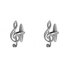 Manschettenknöpfe: G oder Violinschlüssel mit Kristallen