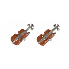 Cufflinks: Violin with wood-colored enamel case