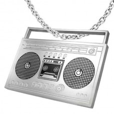 Steel necklace with portable radio and cassette player
