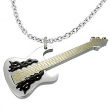Necklace with guitar and flames.