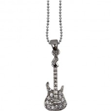 Necklace with electric guitar and crystals