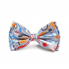 Papillon or bow tie: with colored musical notes and symbols on a silver gray background