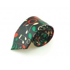 Schmale skinny Krawatte mit bunten Noten und musikalischen Symbolen