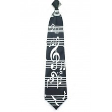 Tie with big G clef and score on black