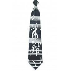 Krawatte mit großem G-Schlüssel und Partitur auf Schwarz