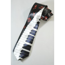 Tie with piano keyboard, piano and red notes