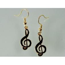 Earrings with treble or G clef, black enamel
