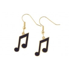 Earrings with tied musical eighths, black enamel