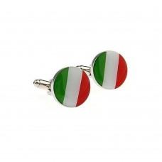 Cufflinks with Italian Flag, Italy, Circulars