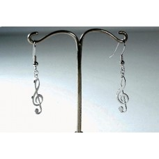 Steel earrings: pendant G clef
