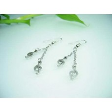 Steel earrings: double dangling G clef