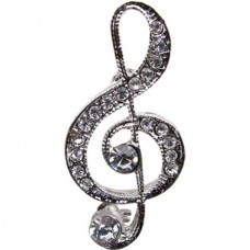Brosche: Silberfarbener G-Schlüssel mit Kristallen