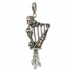 Kirks Folly Charm or Pendant: Harp with winged cherub and crystals