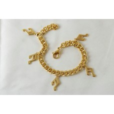 Gold-colored steel bracelet. Musical sixteenths tied