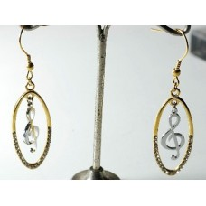 Gold-colored steel earrings with dangling G clef