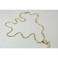 Gold-colored steel necklace with eighth of musical note