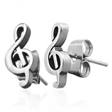 Steel earrings: G or treble clef. Various colors